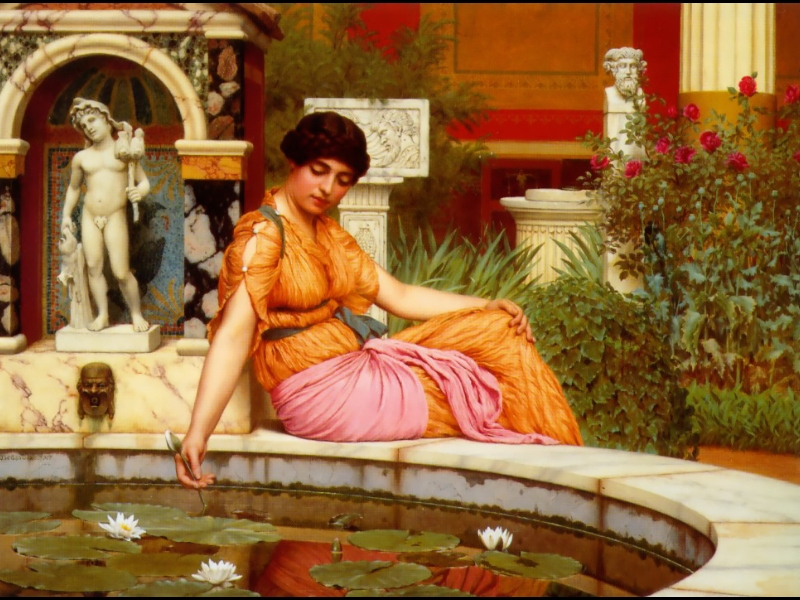 ���� ������ �������. ����� � ������� / John William Godward. A Lily Pond