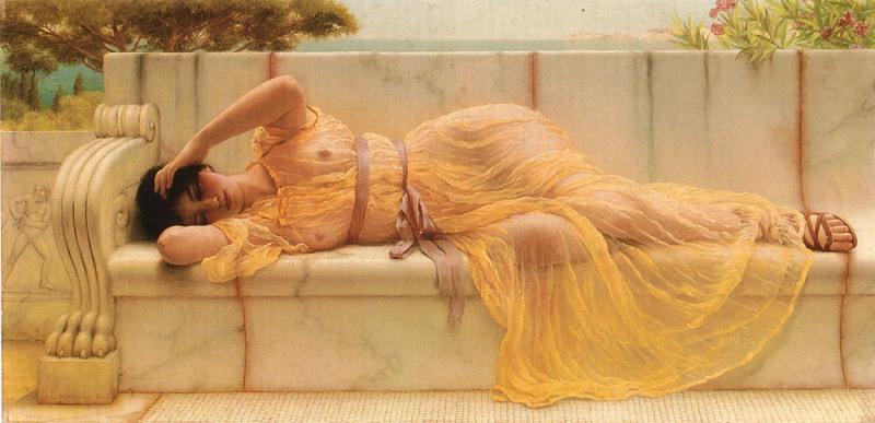 Джон Уильям Годвард. Девушка в жёлтой драпировке / John William Godward. Girl in Yellow Drapery