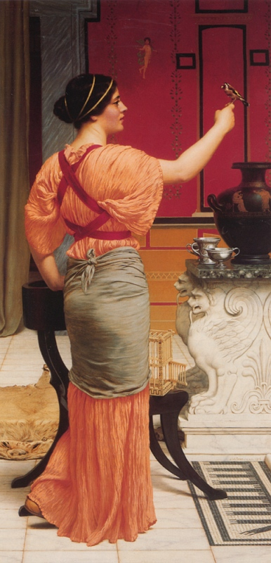 Джон Уильям Годвард. Девушка с острова Лесбос с воробьём / John William Godward. Lesbia with her Sparrow