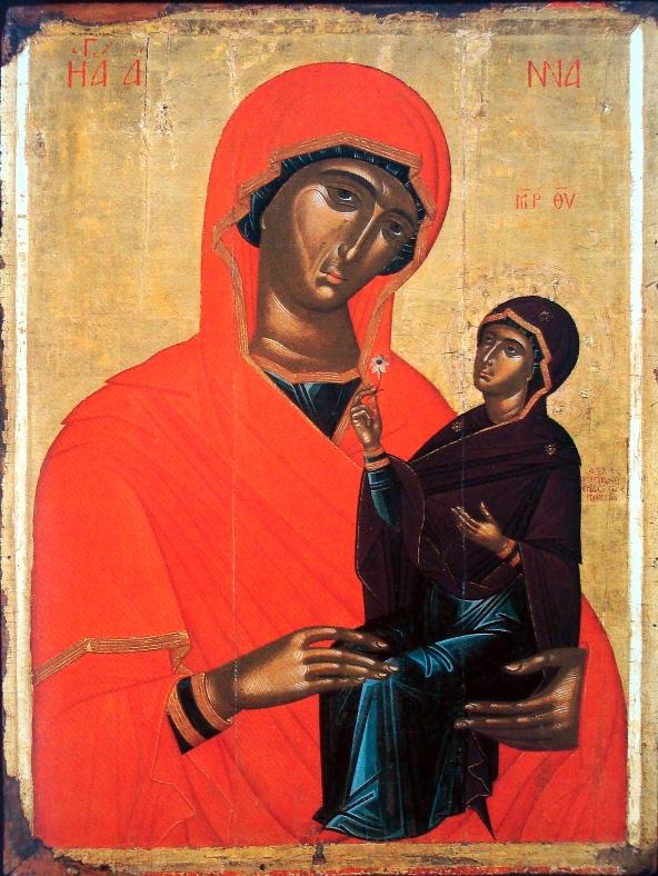 Ангелос Акотанос. Святая Анна с младенцем Марией, Греция, 15-й век