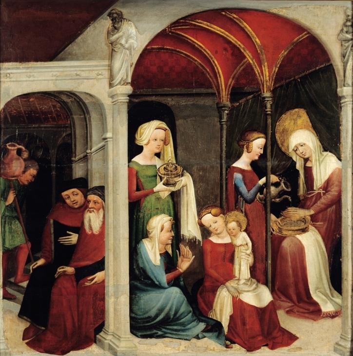 Рождество Девы Марии. Неизвестный художник. 1410 год. / Birth of the Virgin Mary