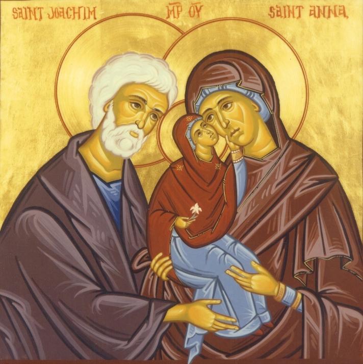 Иоаким, Анна и Дева Мария. Икона
