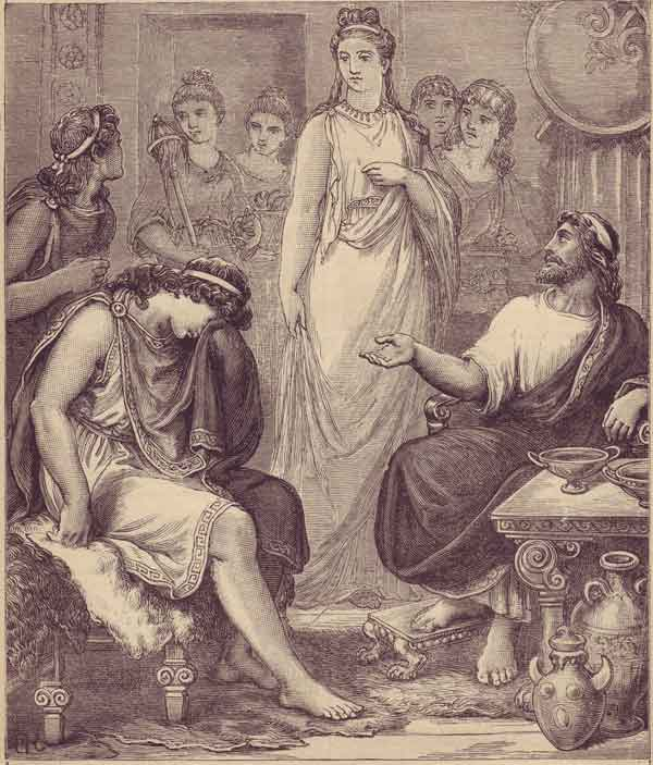Телемах узнаёт у Менелая и Елены о своём отце Одиссее