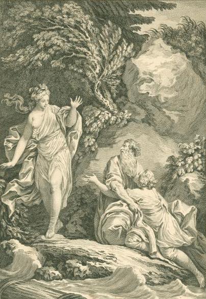 Charles Grignion. Потерпевшие кораблекрушение Телемах и Ментор встречают Калипсо