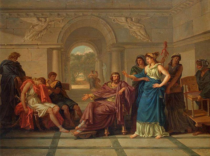 Jean-Jacques Lagrenee. Телемах узнаёт у Менелая и Елены о своём отце Одиссее