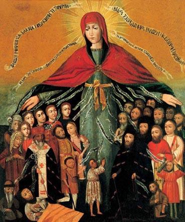 Покров Пресвятой Богородицы. Украинская икона, 17 век.