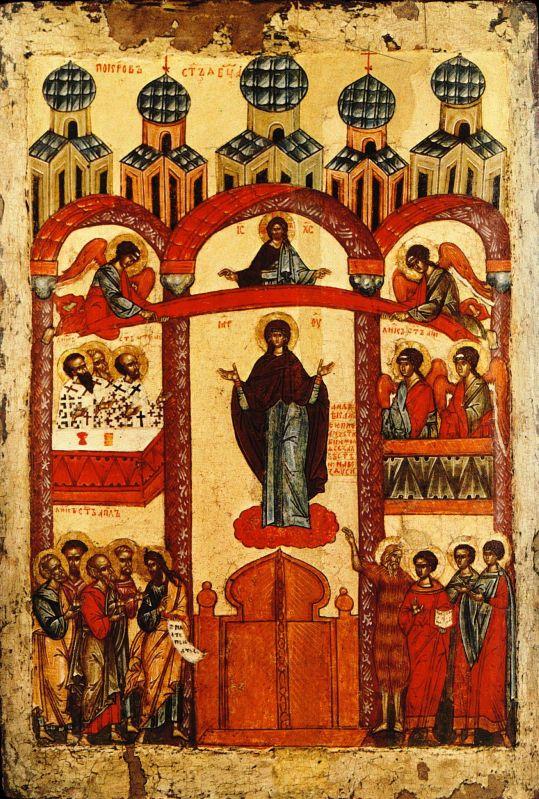 Покров Пресвятой Богородицы. Новгородская икона, первая четверть 15 века