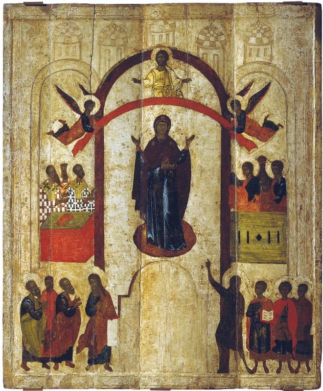Покров Пресвятой Богородицы. Новгородская икона, 14 век.