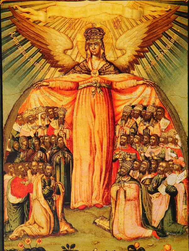 Покрый нас кровом крылу Твоею. Русская икона. 18 век.